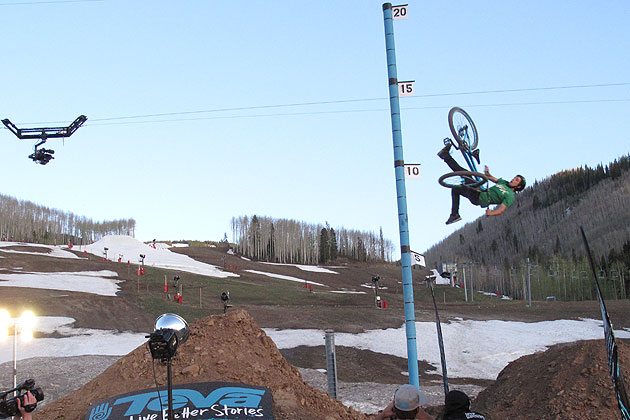 Messere then earned the $1,000 prize for the Big Air session with steeze like this. Photo: Tim Mutrie