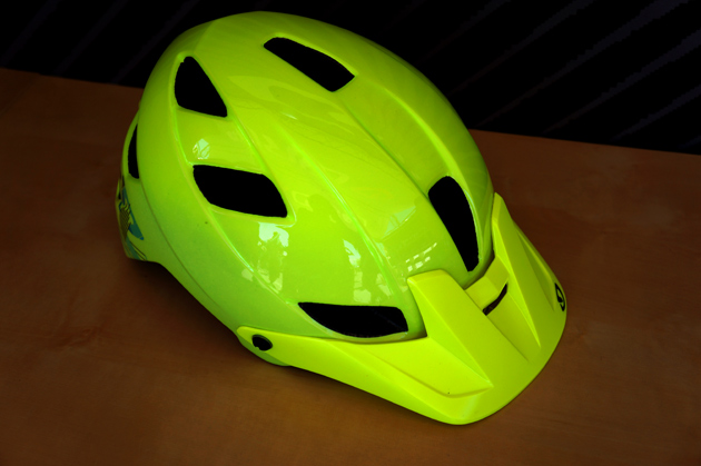 Giro's newest feature is...the Feature all mountain helmet, with expanded coverage of the occipital lobe. This fluorescent color should be well-suited for hunting season as well.