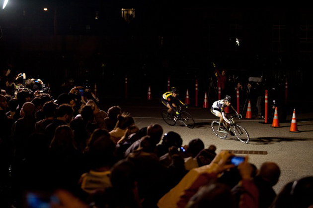 A group of chase riders dive through one of the more well-lit corners on the Red Hook course.