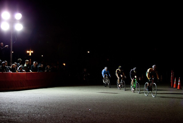 A group of chase riders string it out in pursuit of leader Dan Chabanov.