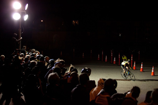 Cornering at night on a fixed gear bike takes some finesse.