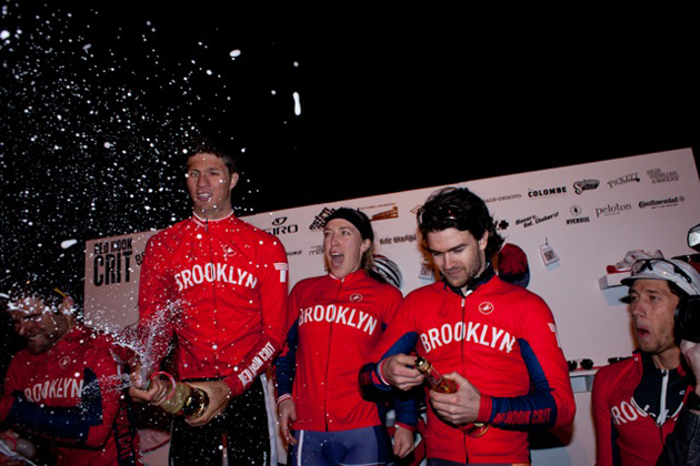 The 2012 Red Hook Criterium podium including women's winner Kacey Manderfield and Dan Chabanov.