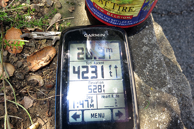 This was the score at the end of our press launch: 1 cold beer, 4,200 feet of climbing and about (I forgot to turn on my GPS a few times) 27 miles of trail covered. Not bad for a first ride.