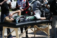 Dartmouth's Leslie Lupien finished 12th despite injuring her leg and face in a crash