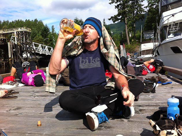 4)The other half of Team Sad Sacks, managing editor Brice Minnigh, concedes that a hearty swig of good scotch is the only way to start a huge day of climbing.