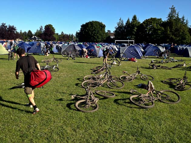 A sight for sore legs: The tents always welcome us after a long day's ride.