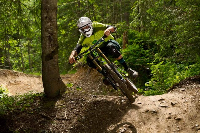 Scott Product Manager, Ben Walker, on his home trails in Morgins.