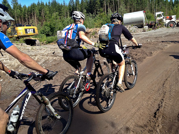 After five days of negotiating BC singletrack, some racers needed a bit of a boost from their teammates.
