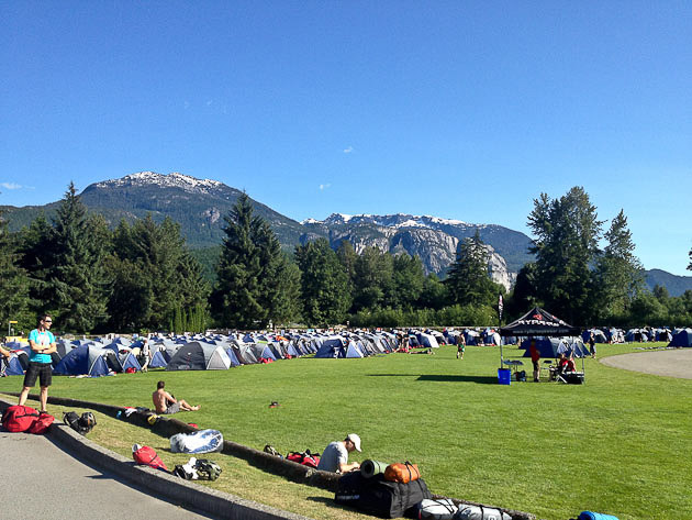 Racers settle into Tent City in Squamish, with visions of sculpted singletrack flowing through their heads.