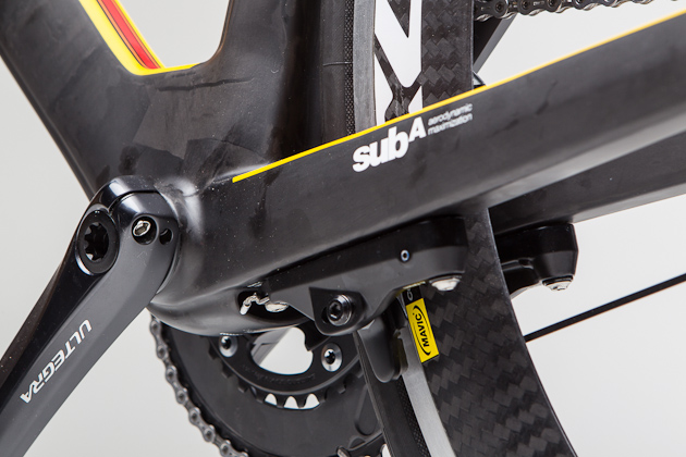 So flush and so clean. The integrated brakes are of BMC's own design and offer a raft of adjustability including spring and cable tension. They also sport a quick-release and a full 32-millimeters of rim clearance between the pads.
