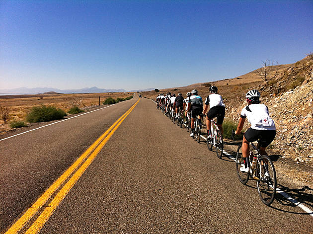 A view from the back of the Specialized peloton