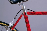 A Supercorsa frame with a graphic scheme designed by Piero Fornasetti.