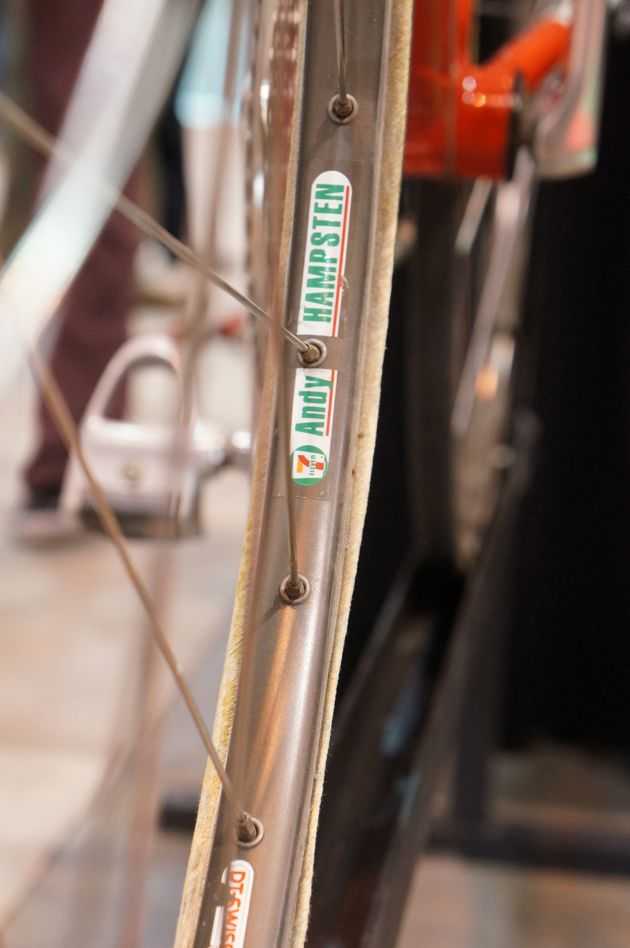 Andy Hamptsten's giro-winning ''Huffy'' was on display at the Hampsten Cycles booth.