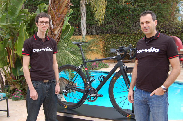Designer David Killing, left, and Cervélo co-founder and CEO Phil White frame their latest lightweight masterpiece.