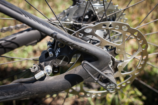 142 x 12 millimeter through axles may have been born on all-mountain bikes, but they are making their way onto the sveltest of race bikes as well. Scott's IDS-SL dropout system offers interchangeability to other standards as well.