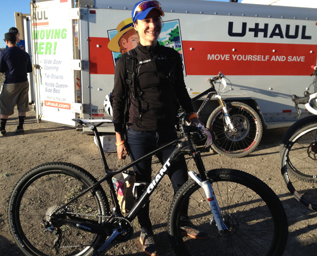 Superstar Marianne Vos and her 650B hardtail race bike. Giant hasn't officially released this model yet, but look for it later this year.