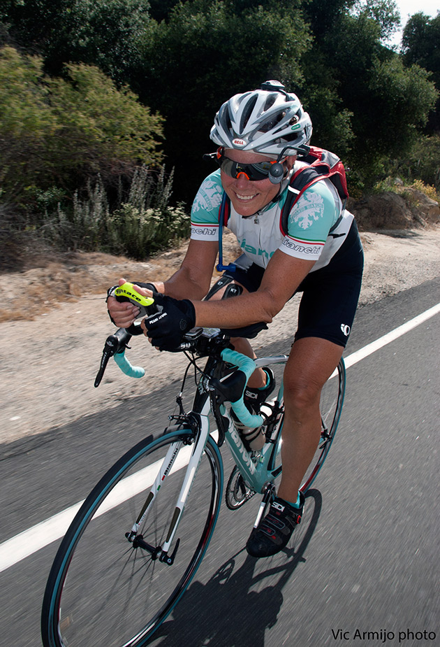 Seana Hogan isn't only keeping a better pace than the other women, she's also out-pedaling a majority of the men.