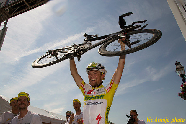 Was Christoph Strasser excited about his record breaking ride? Hmm, perhaps.
