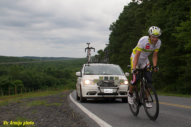 Even through the wearyness of having pedaled 3000 miles, the joy at knowing that victory was just ahead shone through on Christoph Strasser's face.