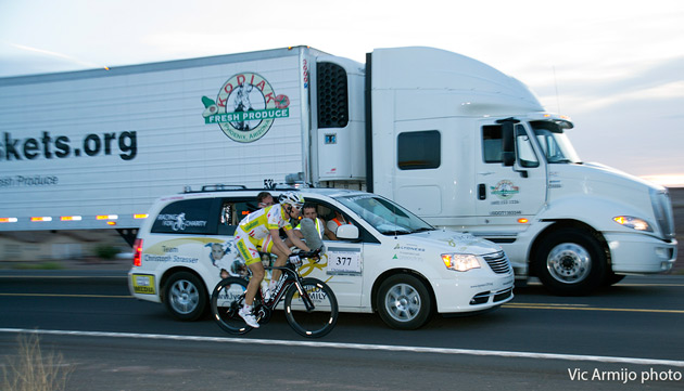 Unlike stage races like the Tour de France the roads aren't closed on RAAM. Current leader Christoph Strasser shared the road with an 18-wheeler back in Arizona on Wednesday.