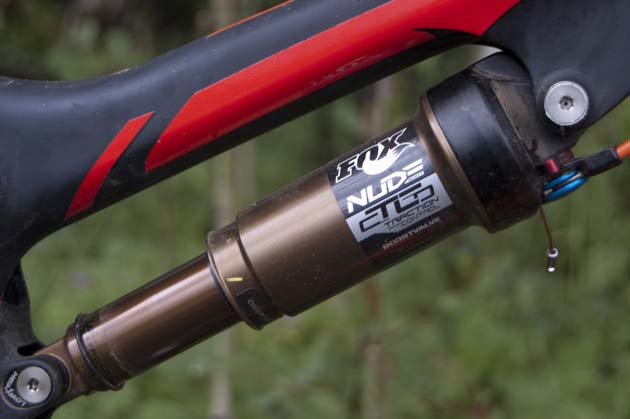 The new Fox Nude rear shock, Kashima-coated for a little extra flair.