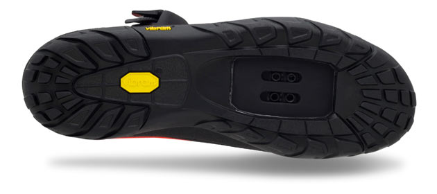 The Terraduro sports a durable Vibram Mont rubber sole, handy for burly rides that require a hike-a-bike or creek crossing.