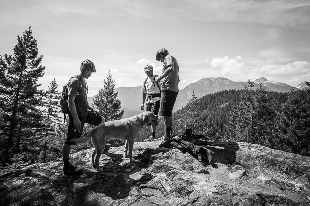 Simmons' own trail dog, Mango, clearly got his descending skills from the Godfather…. Photo: Anthony Smith