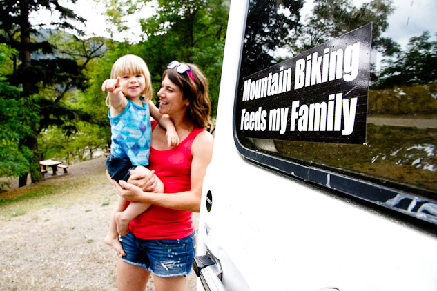 'Mountain biking feeds my family' – a sentiment that could not be more true for Kelli, shown here with her daughter.