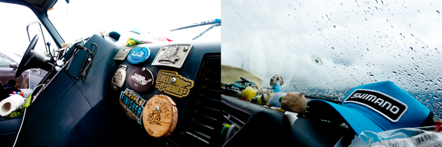 Inside the Gypsy Van is a collection of knickknacks and medals from past road trips and adventures.