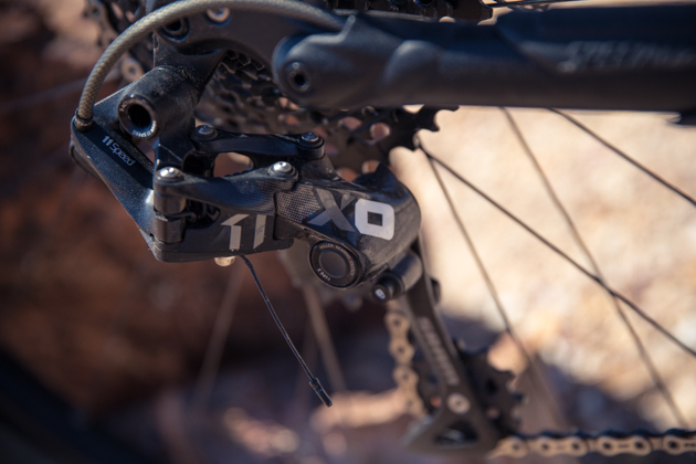 I still hear people saying that they won't have a low enough gear if they run SRAM's new X01 single-ring drivetrain. Trust me--you will. That 42-tooth granny gets you up pitches. The Stumpjumper sports a 32 chainring up front.