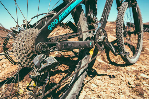 The proven Dave Weagle Split Pivot design eats up trail, yet provides surprisingly good pedaling support.