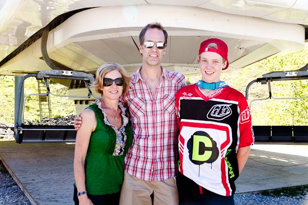 Susan, John and Nic pose for a family photo in front of the lift at the Fernie Alpine Resort during the last BC Cup of the season.