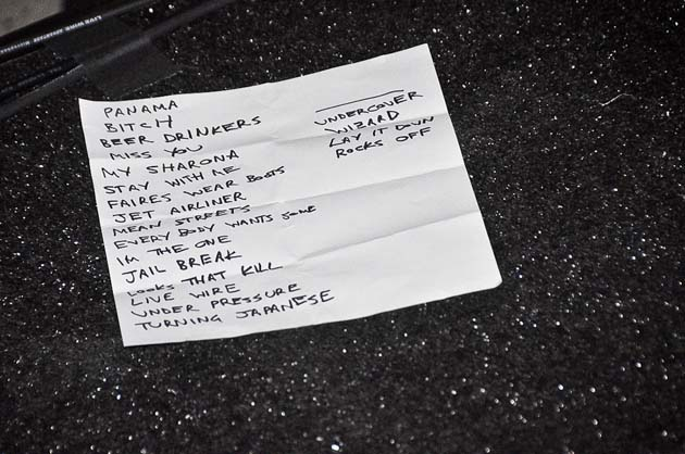 The Chevy Metal set list.
