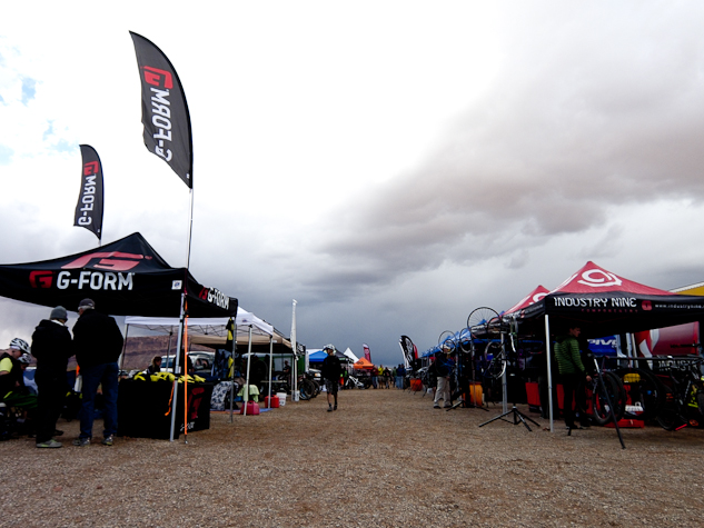 The foreboding skies before opening on Friday that later brought rain and sleet.