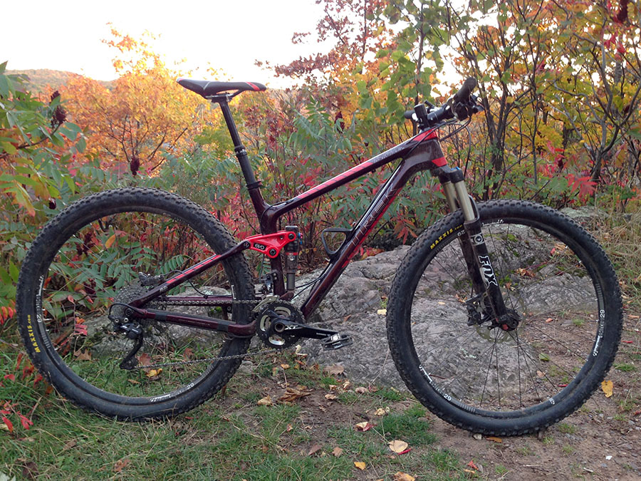 We slapped on some Maxxis tires after wearing out the Bontrager XR3s that come stock on the Fuel EX 29er and which proved pretty damn good.