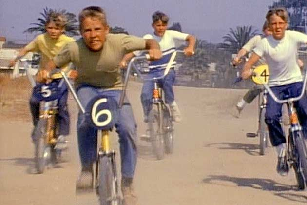 "A scene from the quintessential moto movie, ""On Any Sunday"". This is arguably the first depiction of ""BMX"" committed to celluloid. And, yes, the kids are on Sting-Rays."