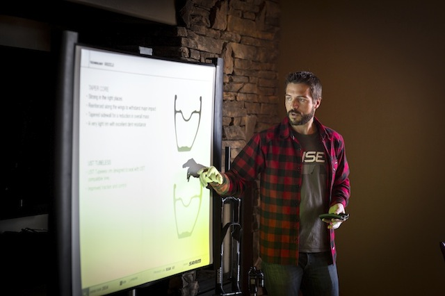 Bastien Donzé, SRAM wheel Product Manager, see here earlier in the year at Trail House, explains how the feel of the wheels were tuned into them after testing and retesting.