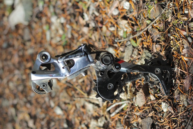 Look at those scratches. This derailleur has taken some considerable direct hits and shrugged them off. Despite sporting a top-end price it is also bomber strong. Photo: Seb Kemp.
