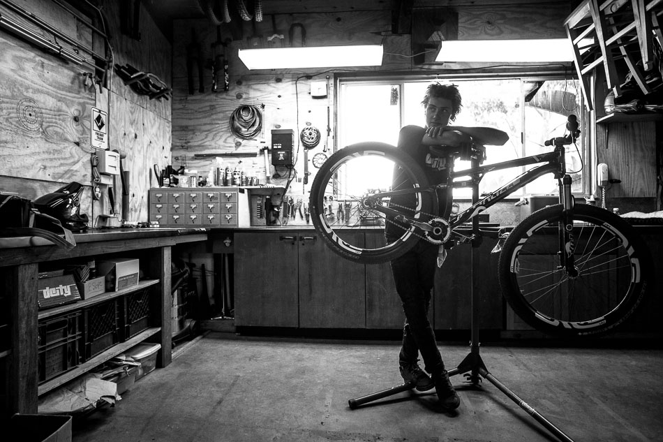 Every day of riding starts and ends in Mullen's workshop.
