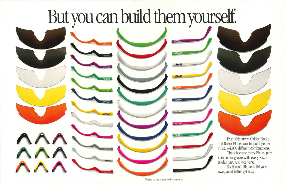 Could you really dream up 22 million different color combinations for your Razor Blades? It's hard to say, but this much is clear--you sure had a hell of a lot of ways to get...er...creative.
