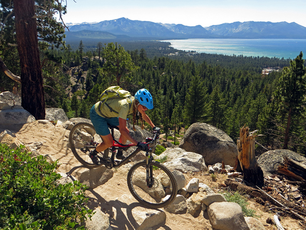 Amy Fish descends South Lake Tahoe's Van Sickle trail. One of the proposed trail connectors at Heavenly Resort would intersect this trail, which is located just below the resort.  Photo: Ben Fish