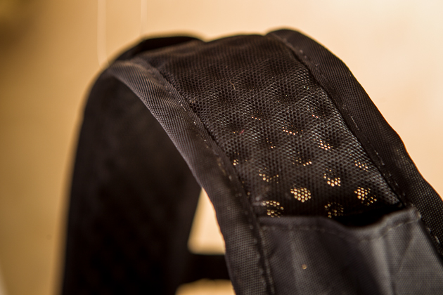 Perforated foam shoulder straps provide comfort and breathability.