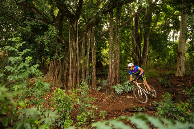 A Lycra kit and an old-school helmet can keep you nice and cool when you're shredding through a Maui banyan forest.