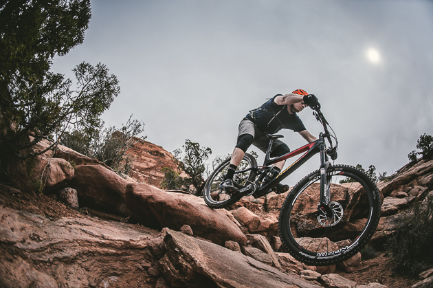 Precise braking is imperative on the chunky, exposed trails of Moab. The Guide brakes did not disappoint. Photo: Margus Riga