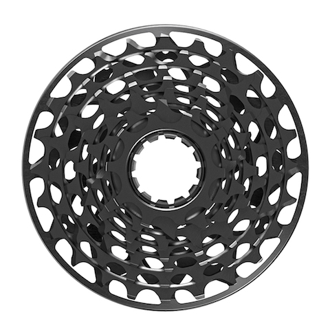 The very tidy cassette is machined much like the XX1 cassette but has a bombproof backing plate/spacer.