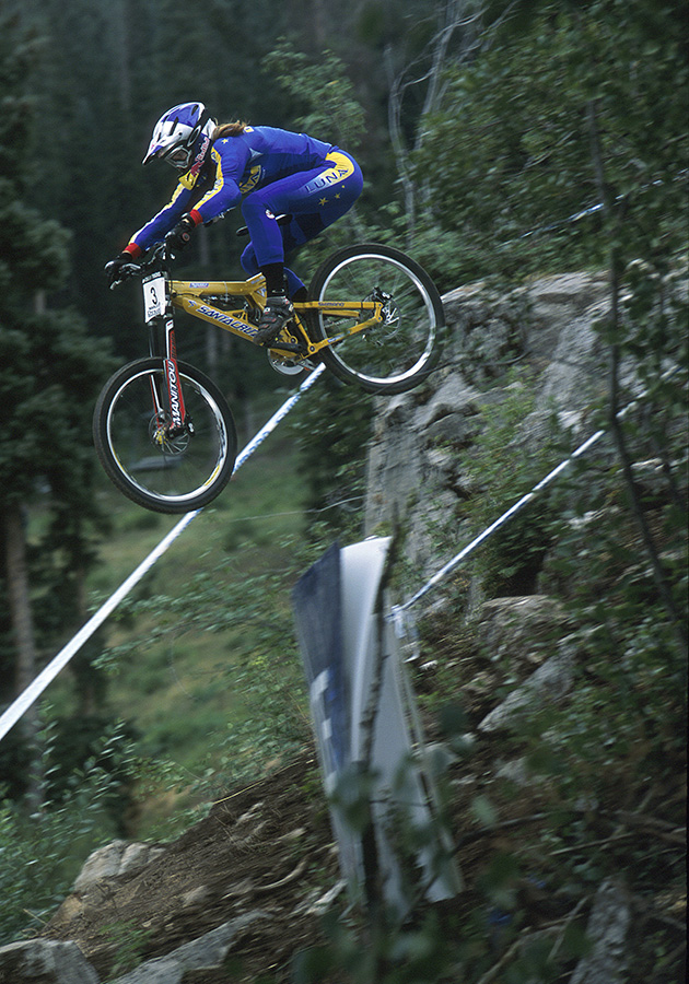 Marla Streb racing Downhill event in Durango, Colorado. August 2002.