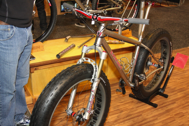 Also spotted at the Eriksen booth was this front-suspension fatbike sporting a 15-year-old Marzocchi Bomber front fork, modified to fit the 5-inch Surly Larry tire. Welder Brad Bingham said he's been stocking up on the forks on eBay.