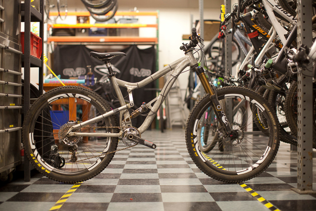 Here's an early Nomad test mule. Many prototypes are made and tested to achieve just the right feel. You can see how drastically different this bike is from the end result.