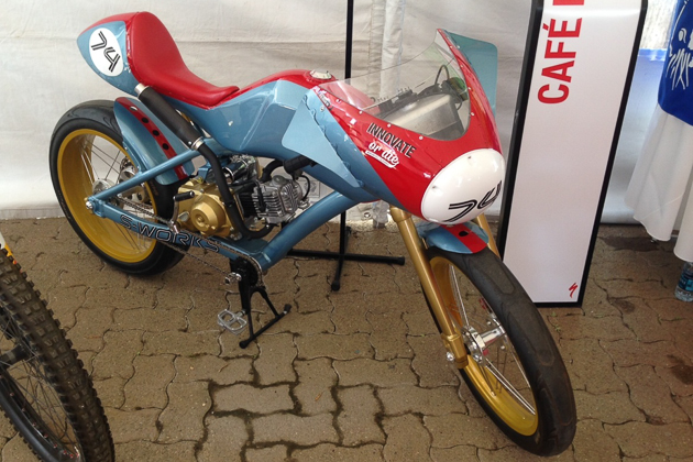 The Specialized design team keeps their imagination alive with off the wall concepts, like this 49cc Cafe Racer moped.