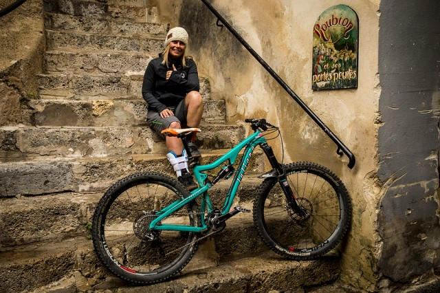 Anka Martin poses with the new Roubion all-mountain bike in the French village that serves as its namesake.